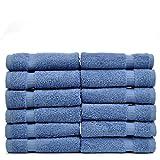 Luxury Hotel & Spa Towel 100% Genuine Turkish Cotton (Wash Cloth  - Set of 12, Wedgewood)
