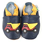 AUGUSTA BABY Baby Boys Girls First Walker Soft Sole Leather Baby Shoes - Dump Truck - US Toddler 4-4.5