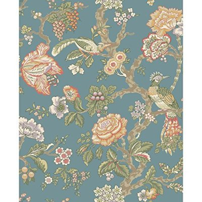 picture of York Wallcoverings WA7736 Waverly Classics Casa Blanca Rose Wallpaper, Teal/Eggshell ...