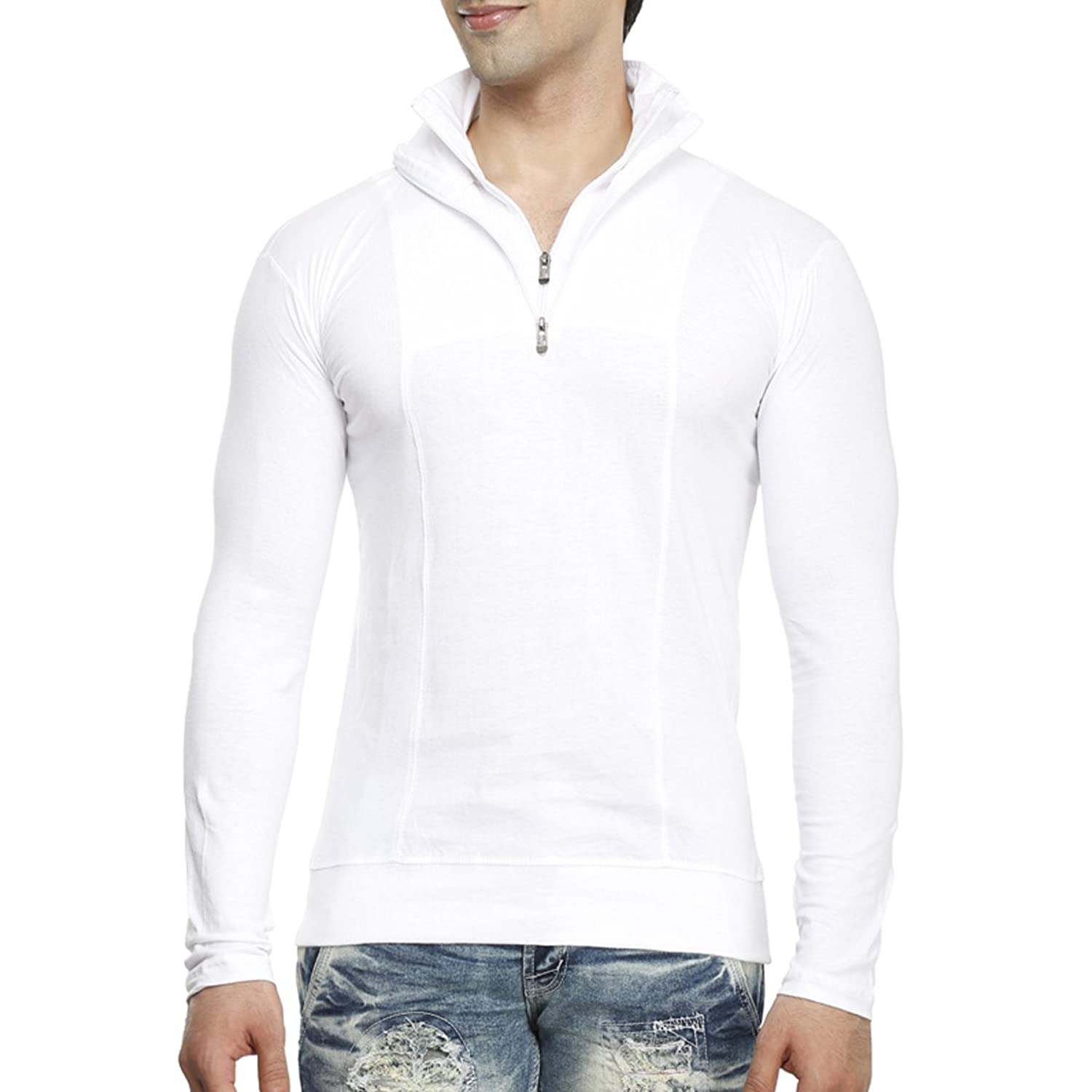 Tees collection men s half zip double flap collar full sleeve cotton t shirt amazon in clothing accessories