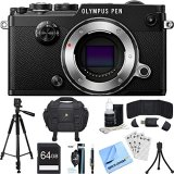 Olympus-PEN-F-20MP-Mirrorless-Micro-Four-Thirds-Digital-Camera-Black-Accessory-Bundle-includes-Camera-64GB-SDXC-Memory-Card-Case-Tripod-Wrist-Strap-Cleaning-Kit-Beach-Camera-Cloth-and-More