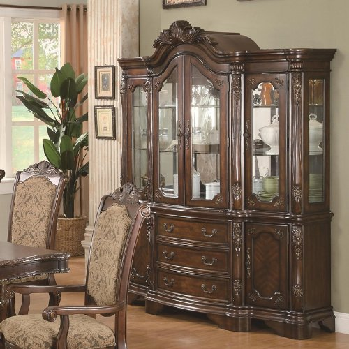 Image of China Cabinet Buffet Hutch with Carved Detail in Brown Cherry Finish (VF_AZ00-84674x38198)