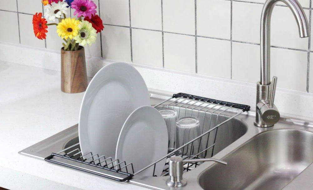 Dish Drainer Rack Over Sink Holder Drying Kitchen