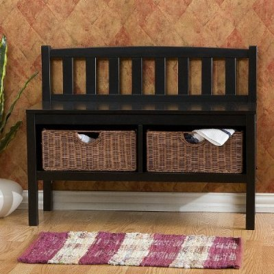 Bench with Storage Baskets - Black
