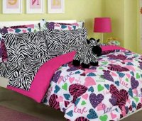 Girls Kids Bedding -MISTY ZEBRA- Bed in a Bag Comforter ...