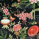 Fat Quarter Mariko Japanese Garden Black Cotton Quilting Fabric - Blank Quilting