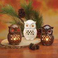 Owl Decorations with Archaic Owl Candle Holders, Figurines ...