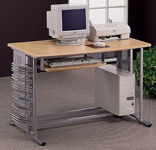 Picture of Comfortable Merino Aluminum Metal/Wood Computer Desk Workstation (B003Y30K9G) (Computer Desks)