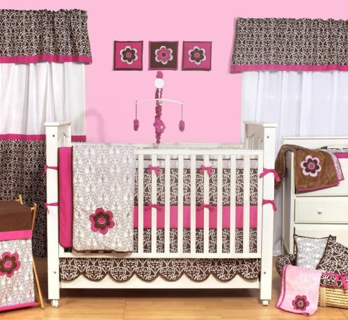 Vaude Infant Carrier Bacati Damask Pink Choco 10 Piece Crib Set Without Bumper