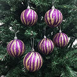PEPPERLONELY 6PC/Pack Shatterproof Christmas Ball Ornaments 70mm (2-3/4 Inch) - Gold/Purple Zebra