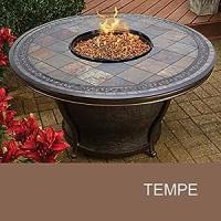Amazon.com: Agio Tempe - 48 Inch Round Slate Top Gas Fire ...