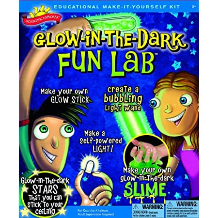 Scientific Explorer Glow in the Dark Fun Lab has 5 awesome glowing activities, including making glow in the dark slime, a glow stick, a bubbling wand and a human powered light bulb. Also included are 30 glow in the dark stars for making constellation...