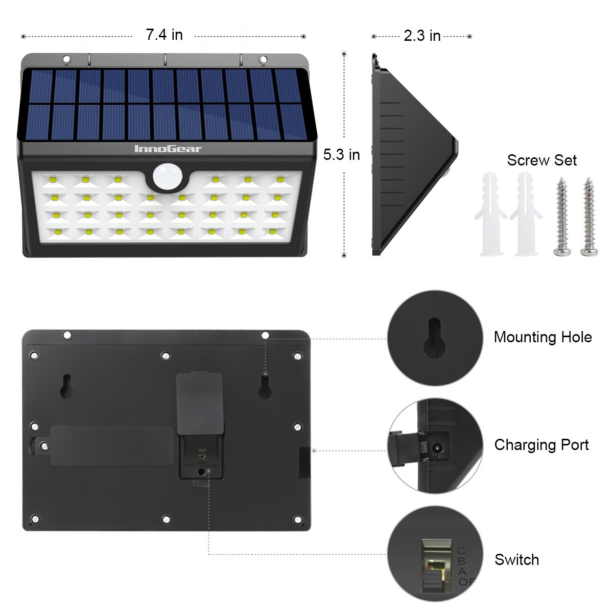 Motion Detector Lights Outdoor Innogear Upgraded Solar Lights 30 Led Wall Light Outdoor Security