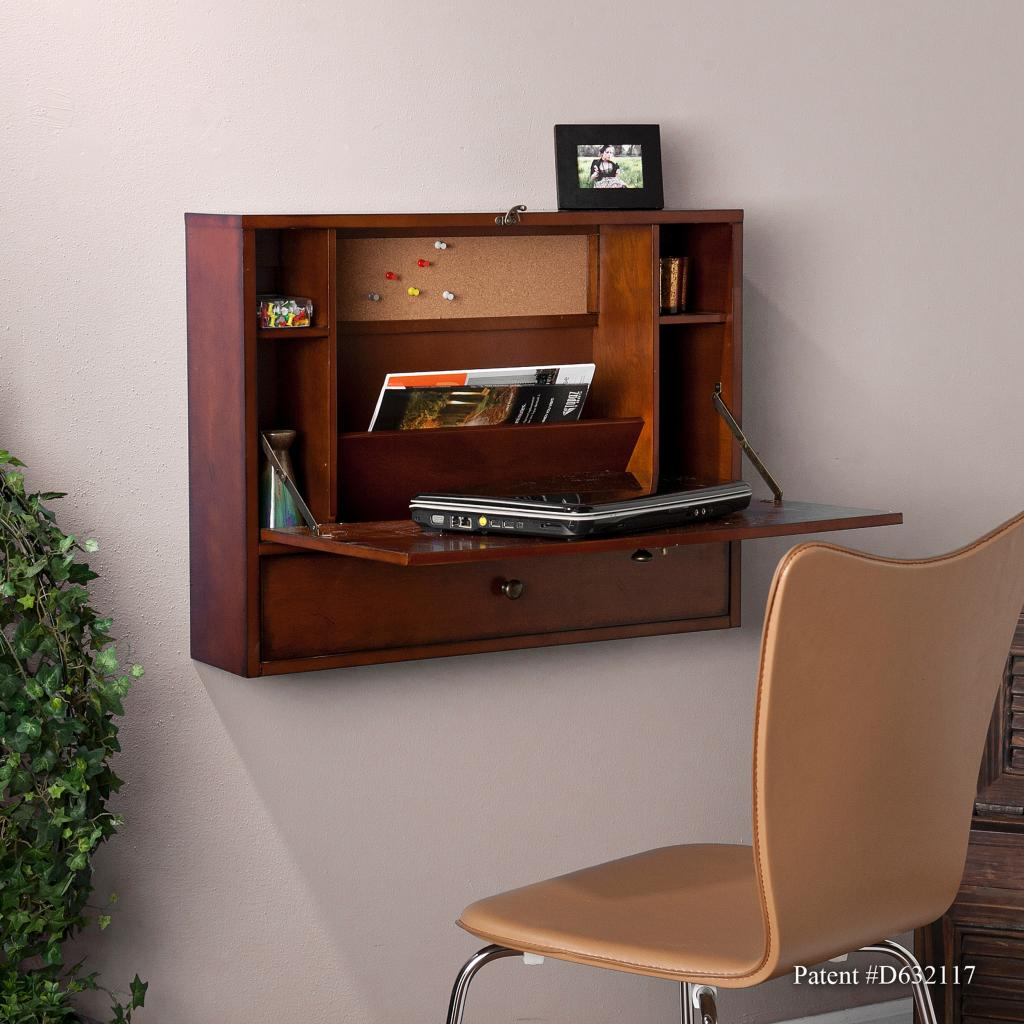 Wall Mount Office Desk Amazon Sei Wall Mount Laptop Desk Brown Mahogany