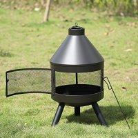 IKAYAA Outdoor Fire Pit Metal Garden Fireplace Chimney ...