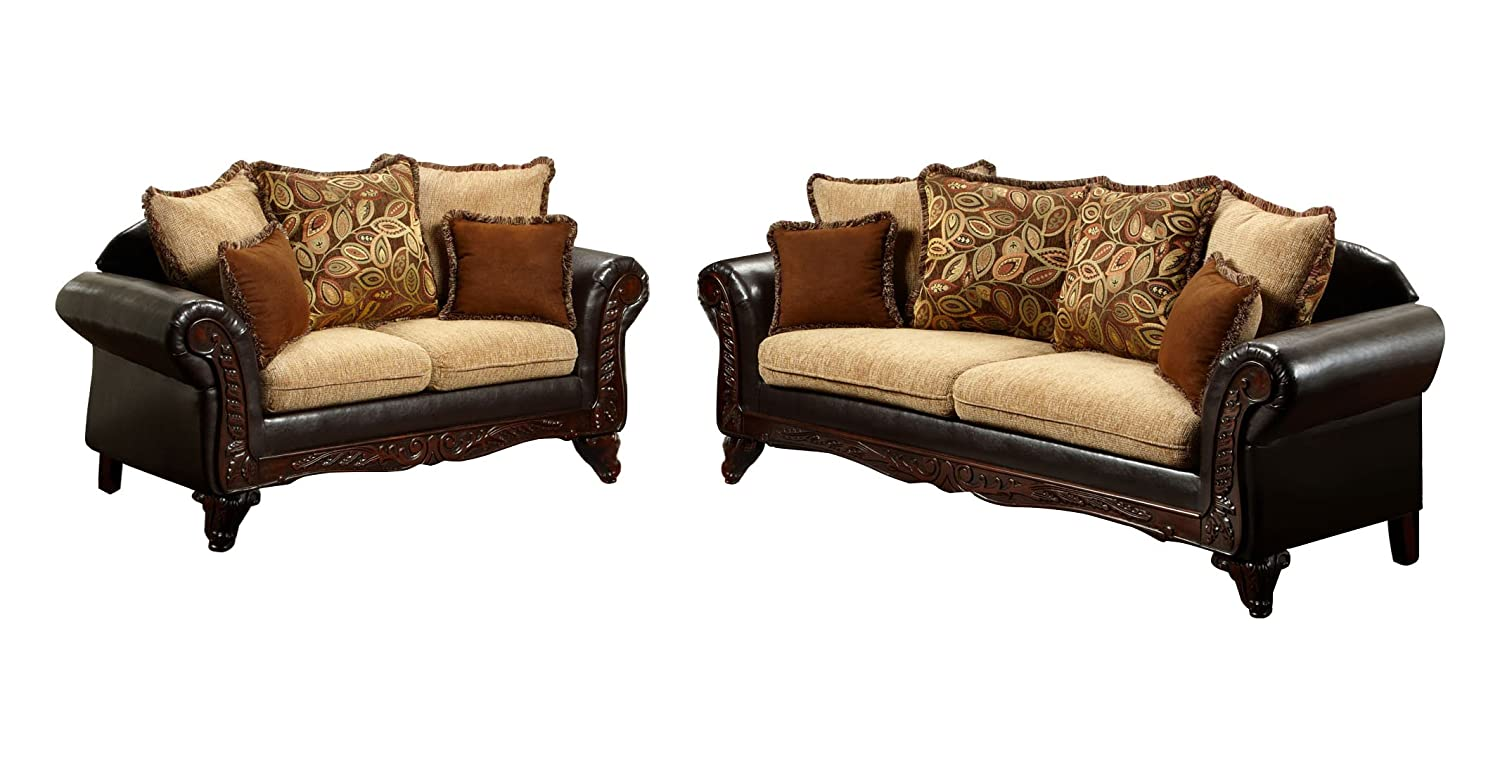 Sofa Set Price Wooden Furniture Of America Kamil Classic 2 Piece Sofa Set With