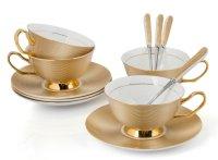 Premium Tea Cup Set Saucers Spoon Porcelain Coffee ...