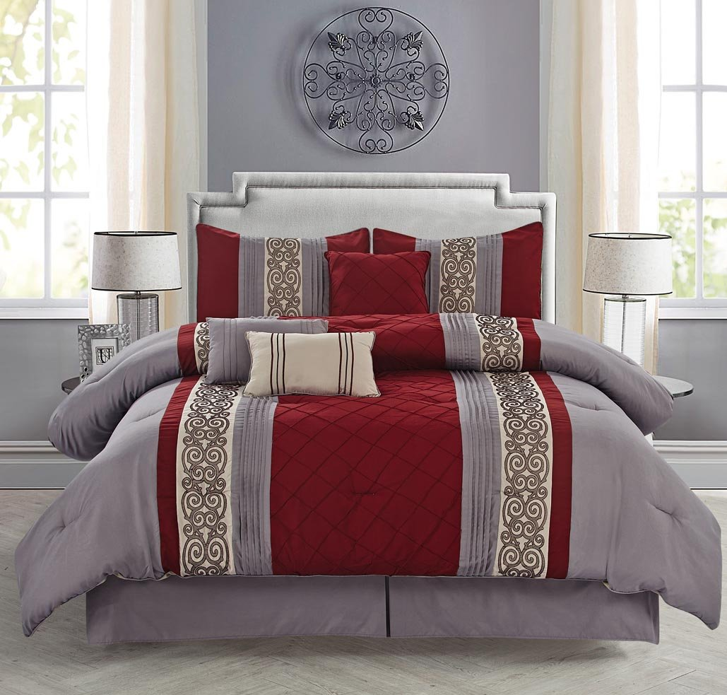 Burgundy And Gray Bedroom Pintuck Comforter Sets Sale Ease Bedding With Style