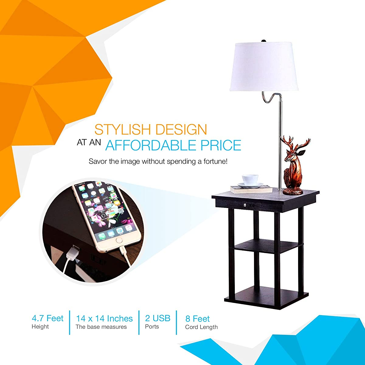 End Table With Lamp Built In Brightech Madison Led Floor Lamp With Built In Black Table And