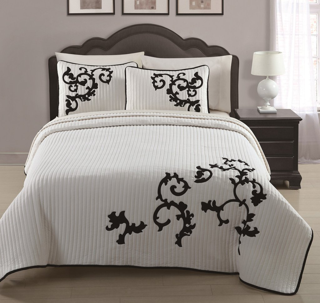 3 piece ivory black embroidered quilted coverlet bedspread set king size amazon in home kitchen