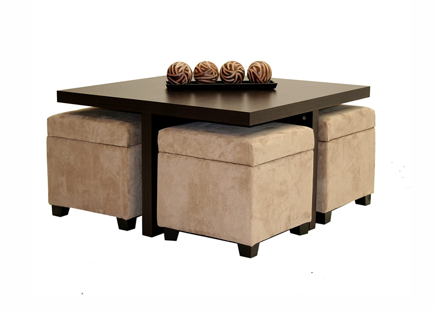 Coffee Table Ottomans Underneath Large Square Coffee Table
