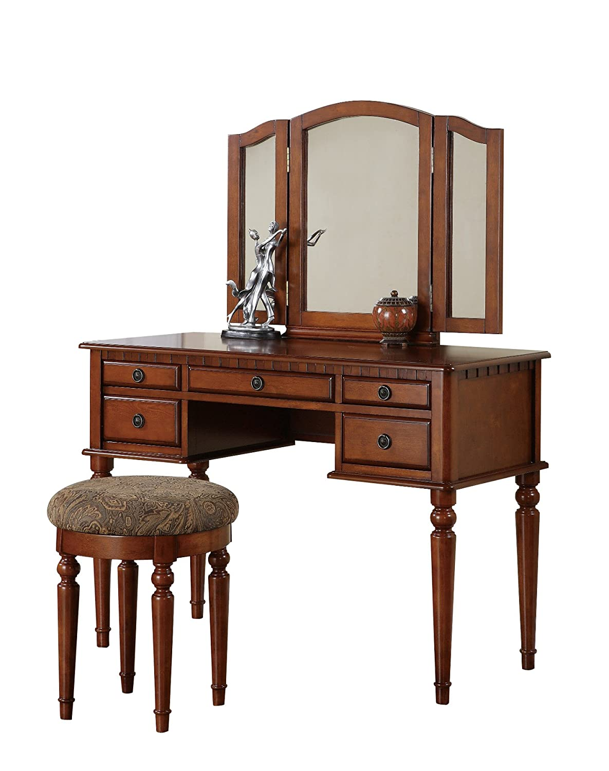 Makeup Tables And Chairs Walnut Make Up Vanity Table Sets Under 200 Olivia 39s Place