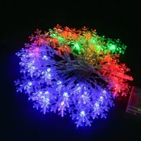 Holiday Indoor/Outdoor Colorful Snowflake String Lights ...