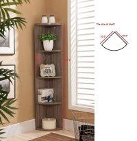 Kings Brand Furniture Wood Wall Corner 5 Tier Bookshelf ...