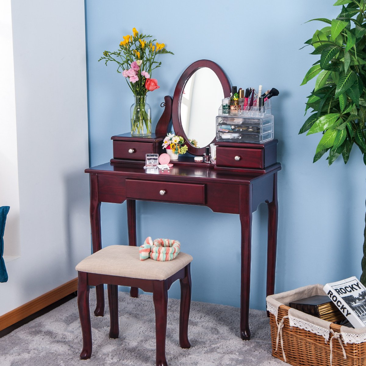 Vanity Table And Stool Set Merax Vanity Set With Stool Dressing Make Up Table With 3