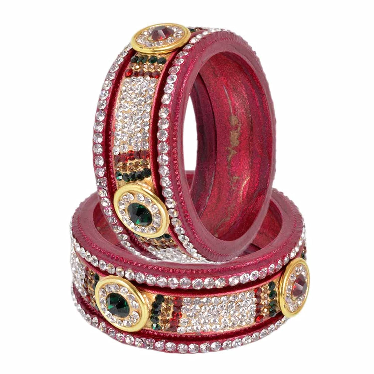 Rajasthani Lac Jewellery Rajasthani Lac Maroon Color Bangles Set For Woman