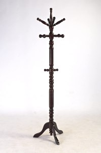 Lovely Simple Cherry Finish Wood Coat Rack Hall Tree with ...