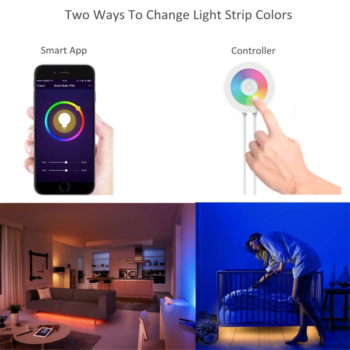 Rgb Strip Light Controller Lombex Smart Wifi Led Light Strip Color Changing Rgb Light