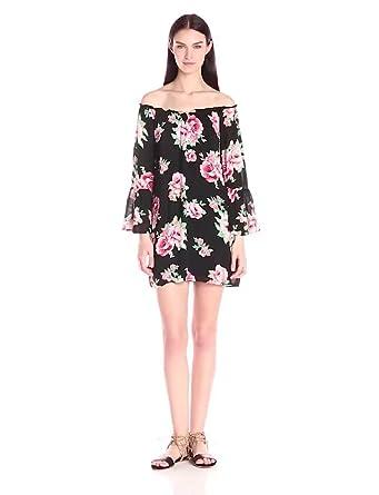 Off The Shoulder Dress: Blu PepperWomens Off-Shoulder Floral-Print Shift Dress