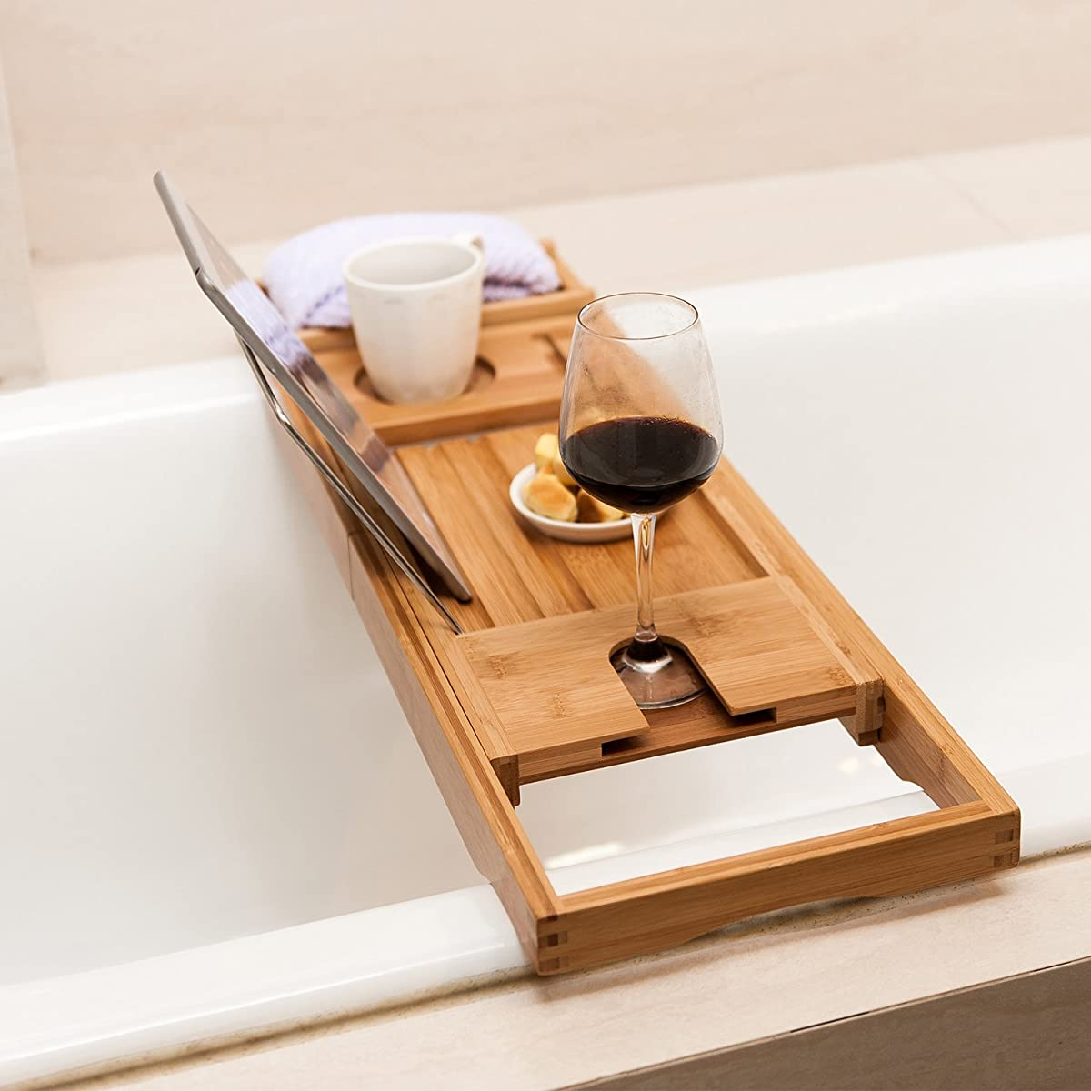 Wooden Drink Holder Valdler Home Wooden Bathtub Tray Caddy With Reading Rack