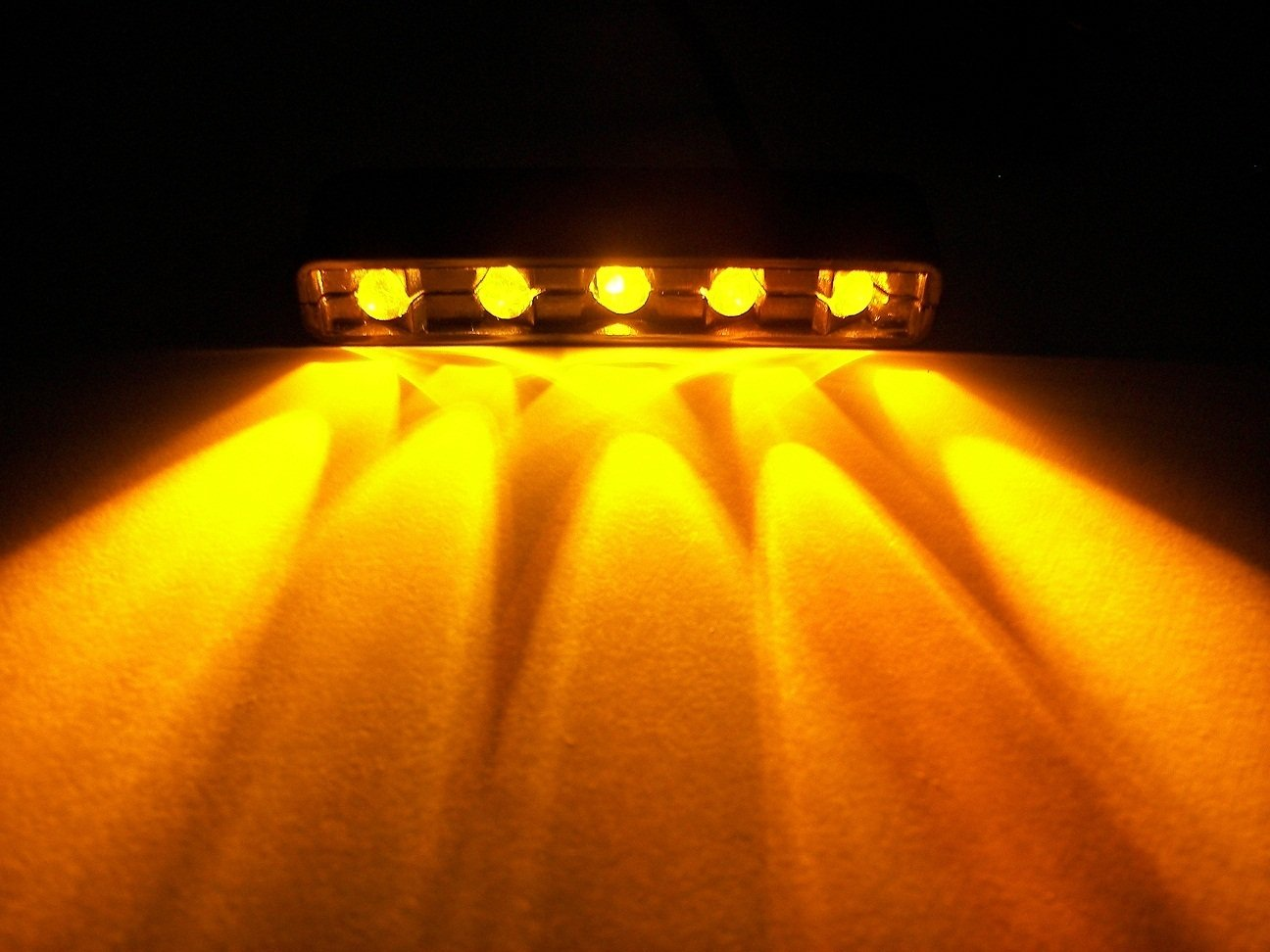 Amber Led Amber Orange 5 Led Chrome Motorcycle Car Boat Home Pod