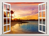 Wall Mural - Tropical Beach View at Sunset | Window View ...