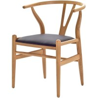 Hans Wegner Wishbone Chair With Leatherette Seat Modern