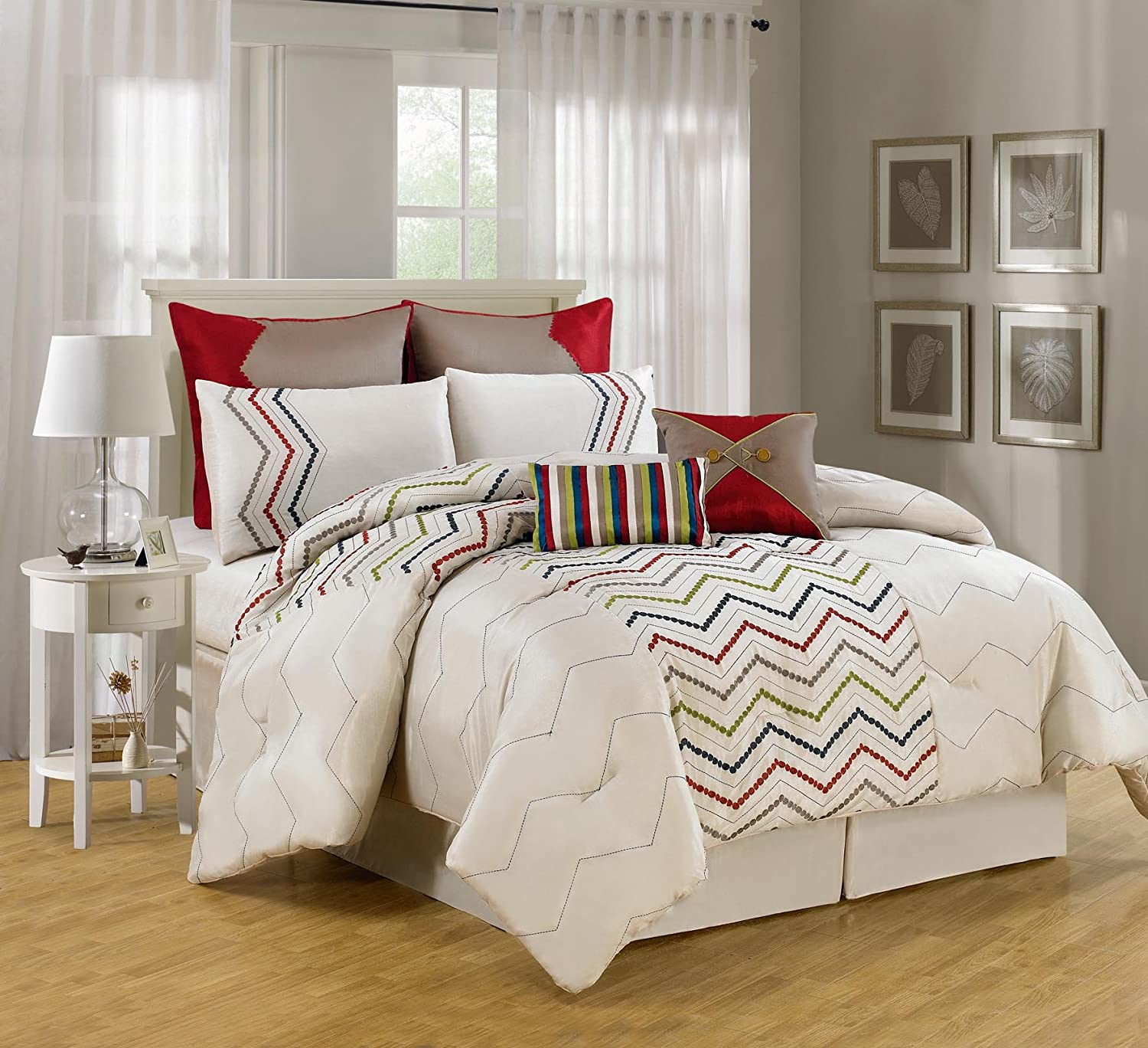 Luxury Home 8 Piece Chevron Comforter Collection