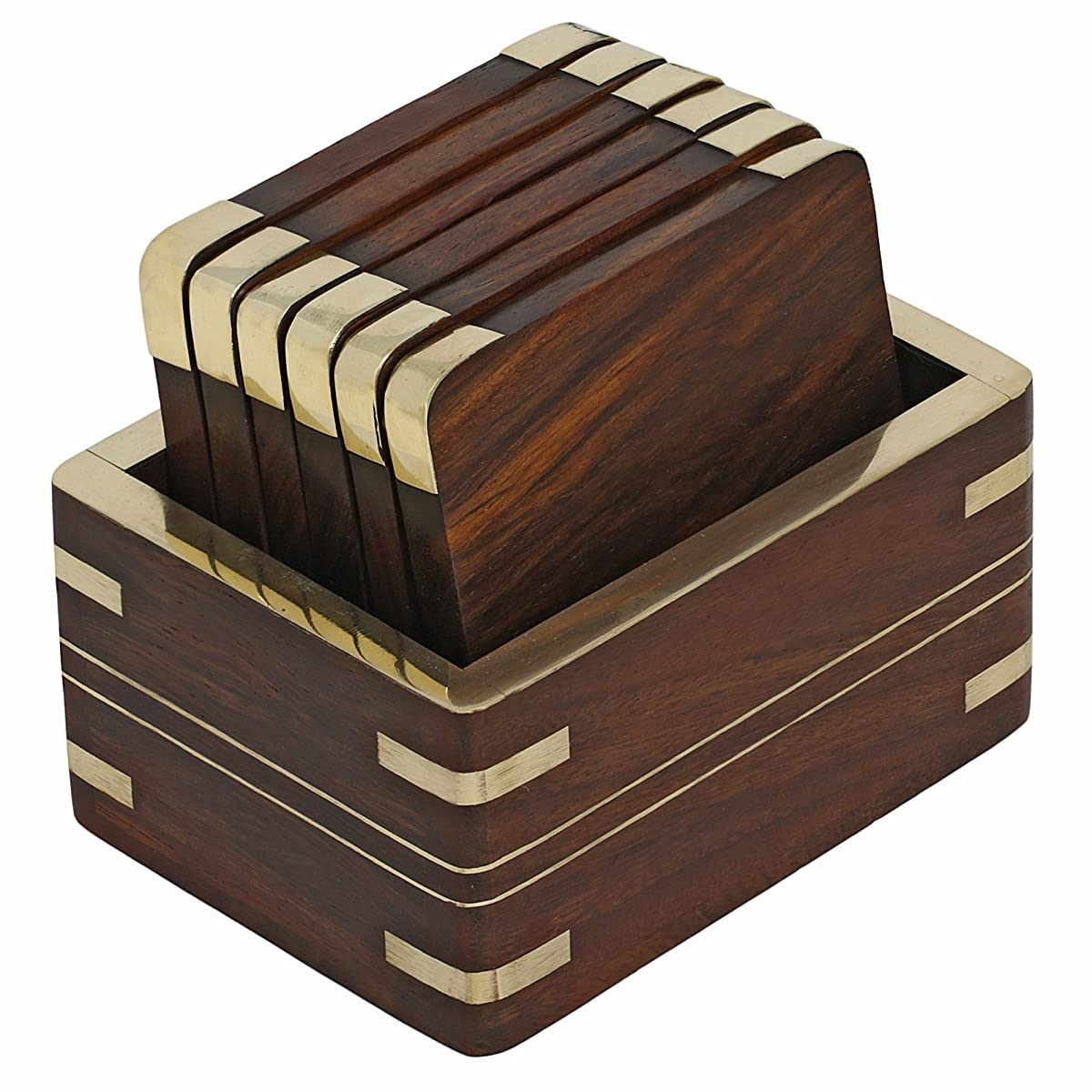 Wood Coaster Holder Wooden Tea Coasters And Holder Set With Golden Brass