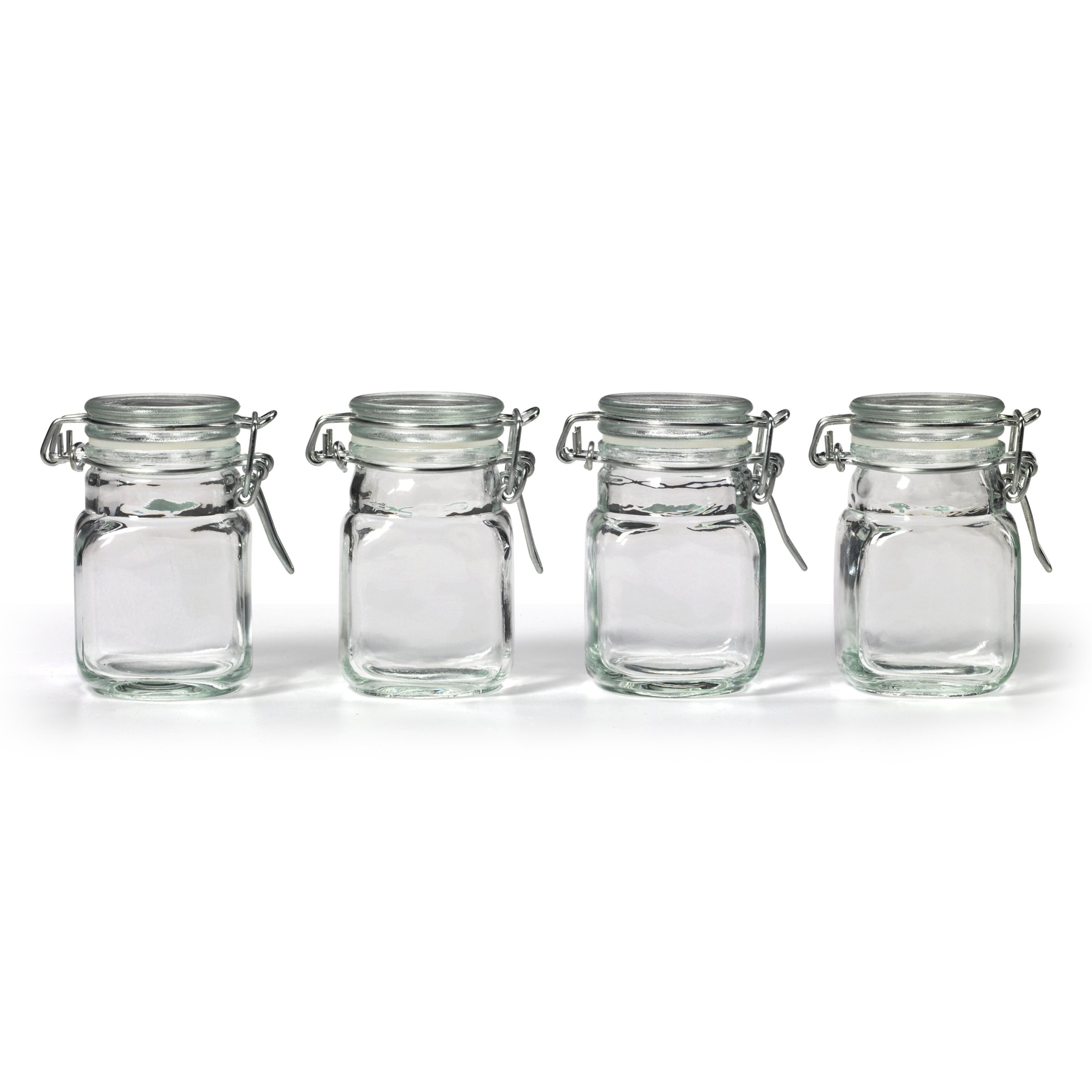 Vasetti Vetro Amazon New Square Glass Jar And Hinge Lid Set 4 Piece Kitchen