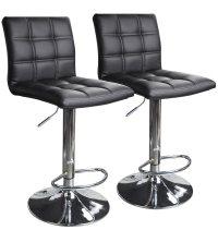 Modern Square Leather Adjustable Bar Stools with Back, Set ...