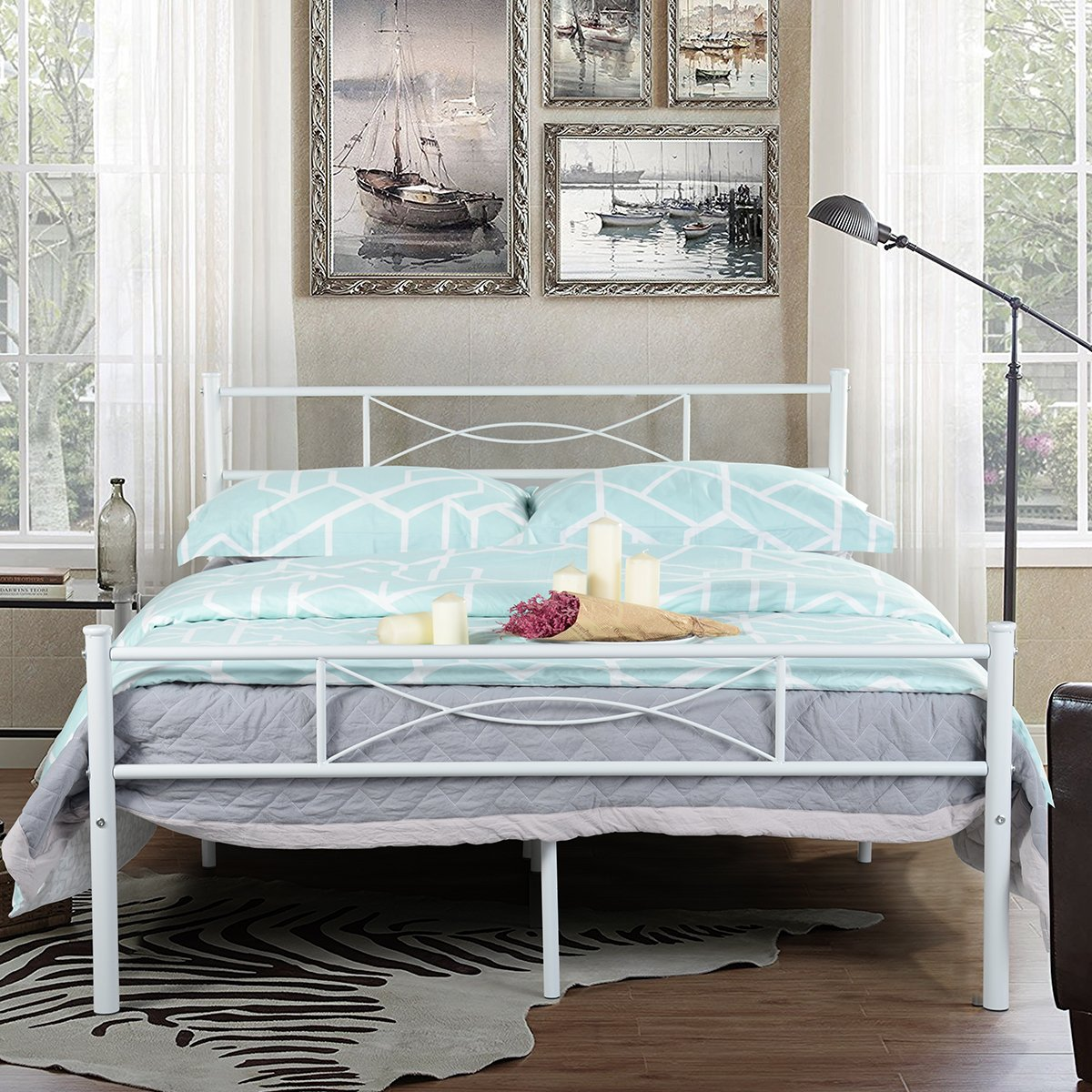 White Platform Bed Without Headboard Simlife Metal Bed Frame Full Size 10 Legs Two Headboards Mattress