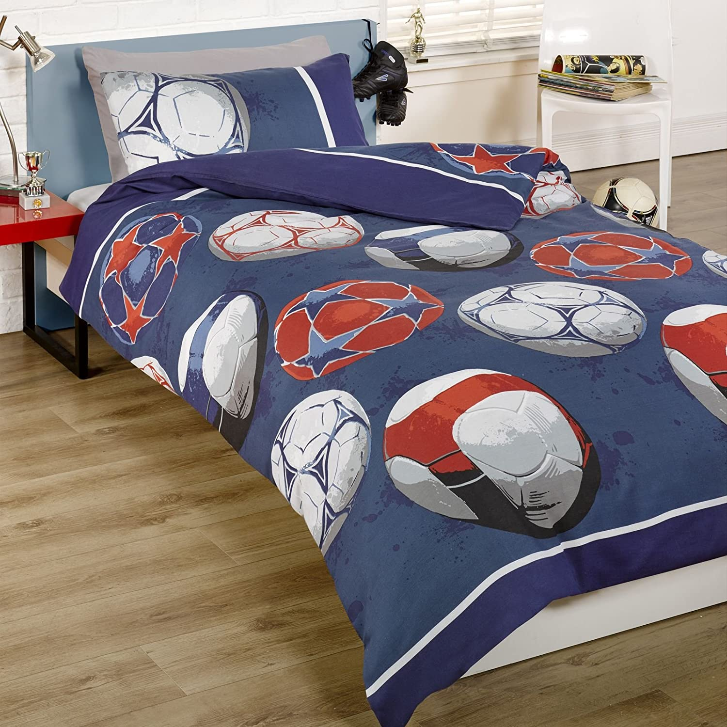 Dekbedovertrek Voetbal Boys Soccer Football Blue Uk Double Fits Au Queen Bed
