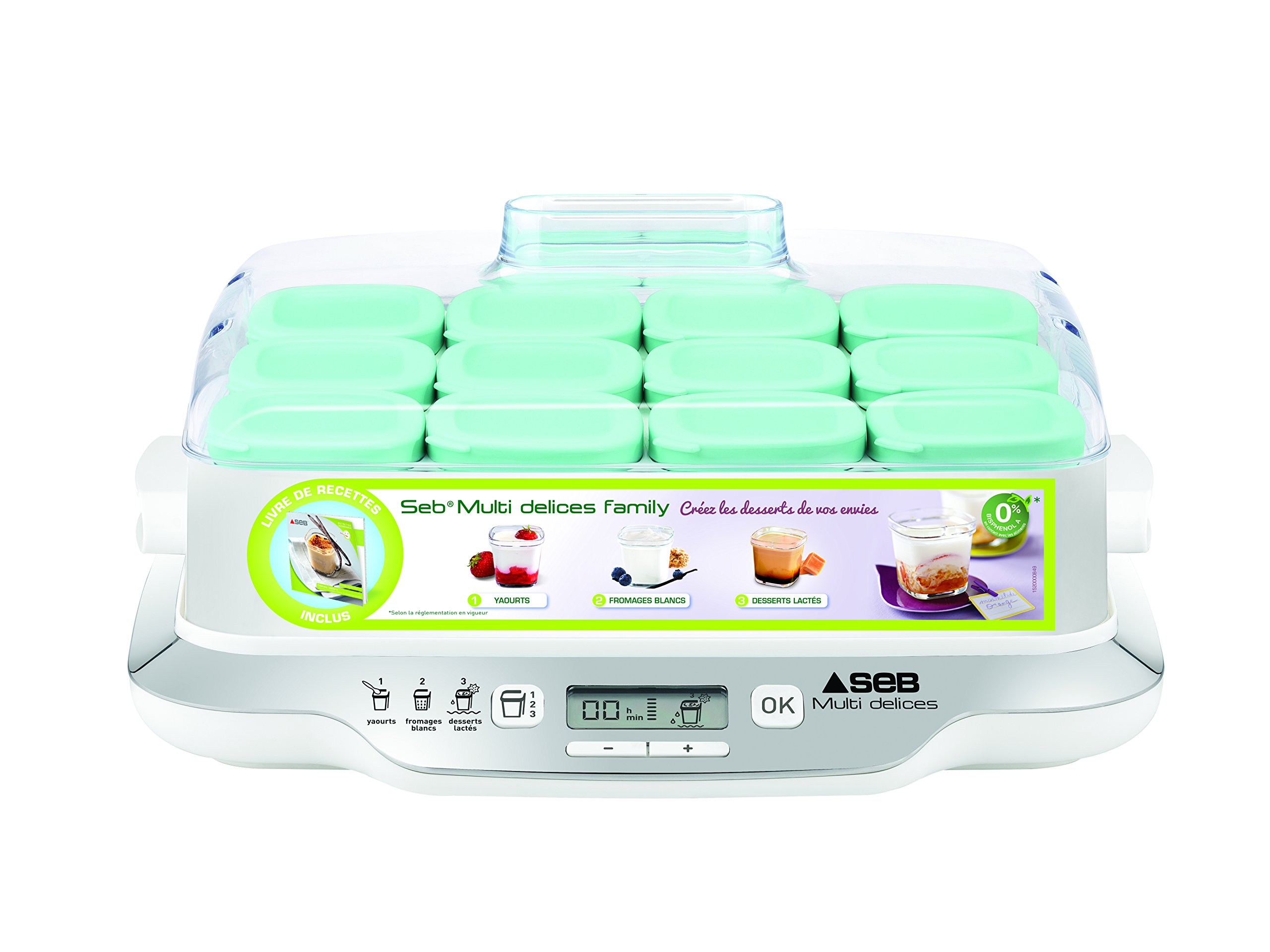 Vasetti Vetro Amazon Seb Yg6581fr Family Multidélices Yogurtiera Con 12