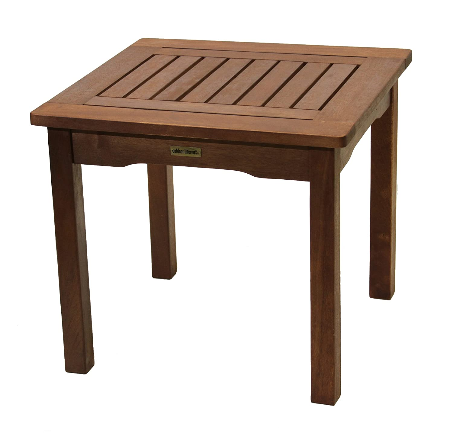 Porch Table All Weather End Table Eucalyptus Easy Assembly Garden