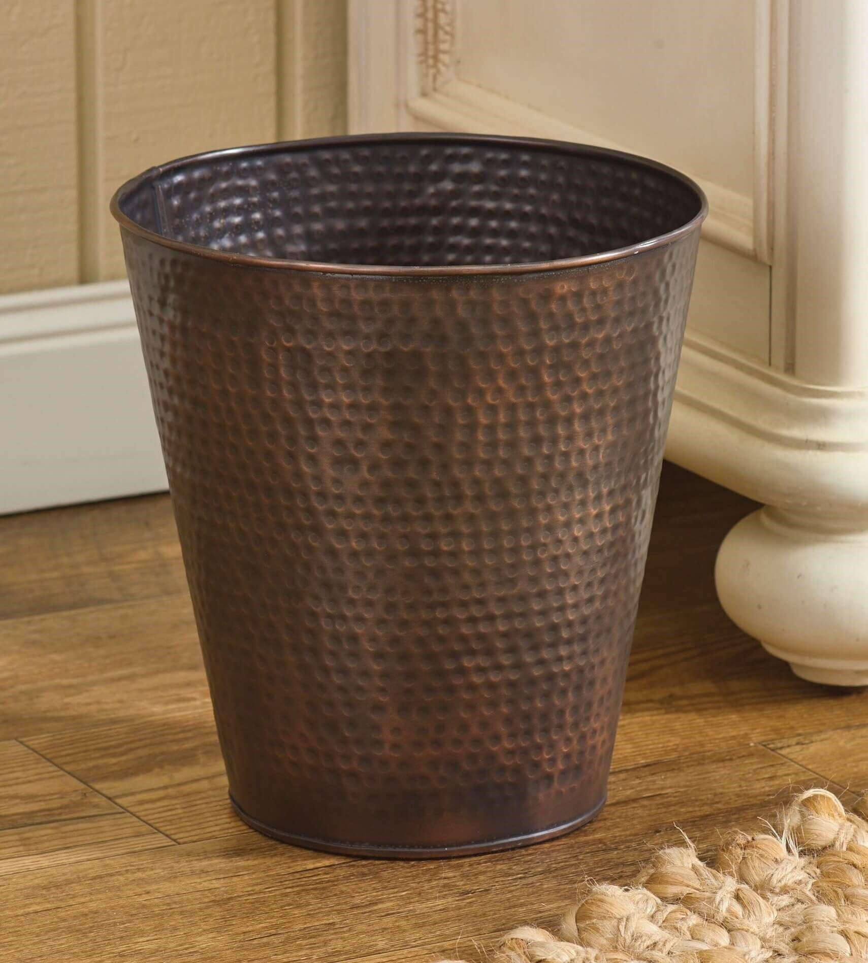 Vintage Kitchen Trash Can Hammered Copper Finish Antique Style Waste Basket