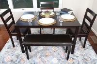4 Person - 5 Piece Kitchen Dining Table Set - 1 Table, 3 ...