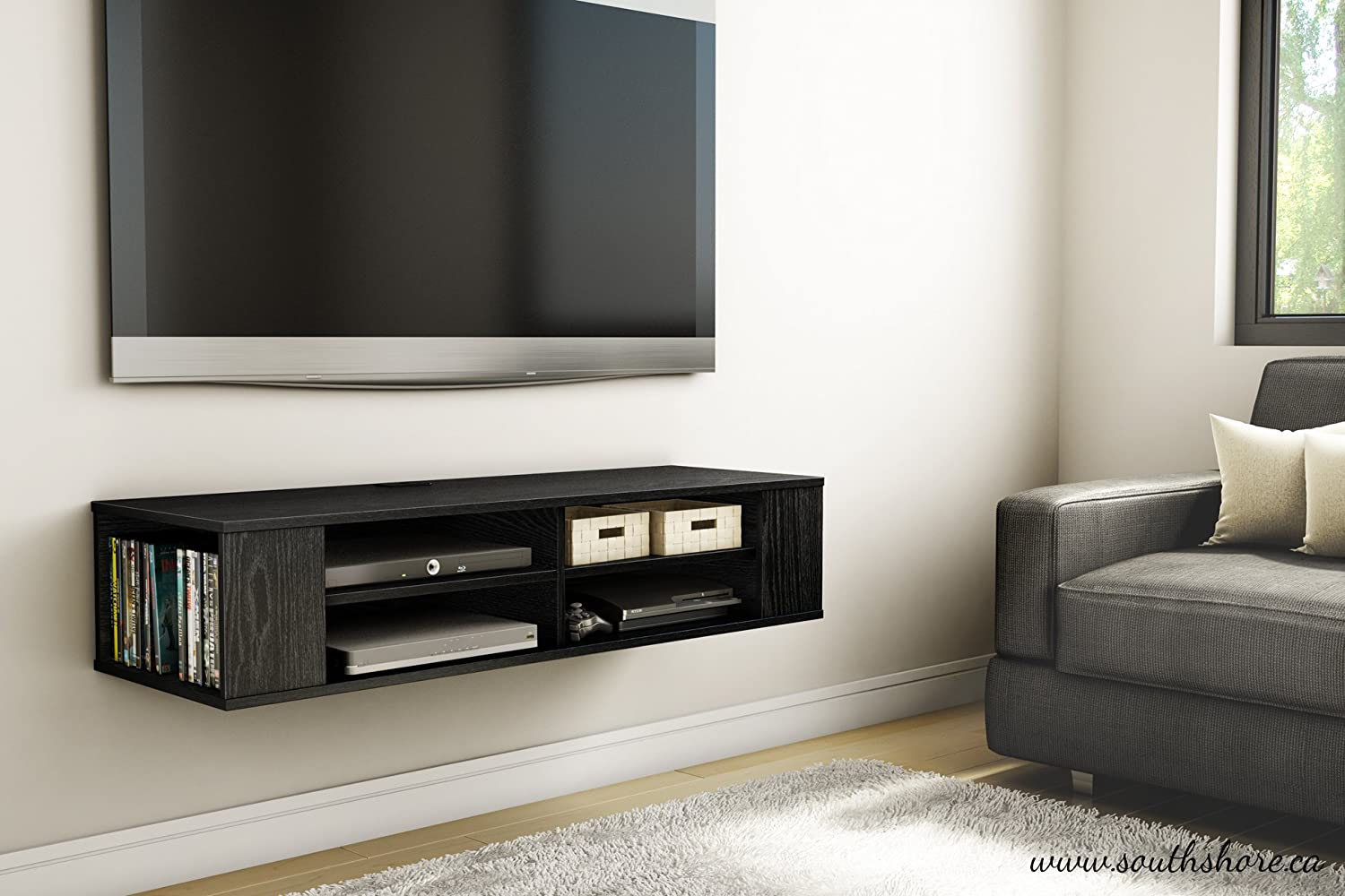 Wood Wall Behind Tv Details About Tv Floating Media Console Wood Wall Mounted Storage Cabinet Stand Modern Ps4 Ps3