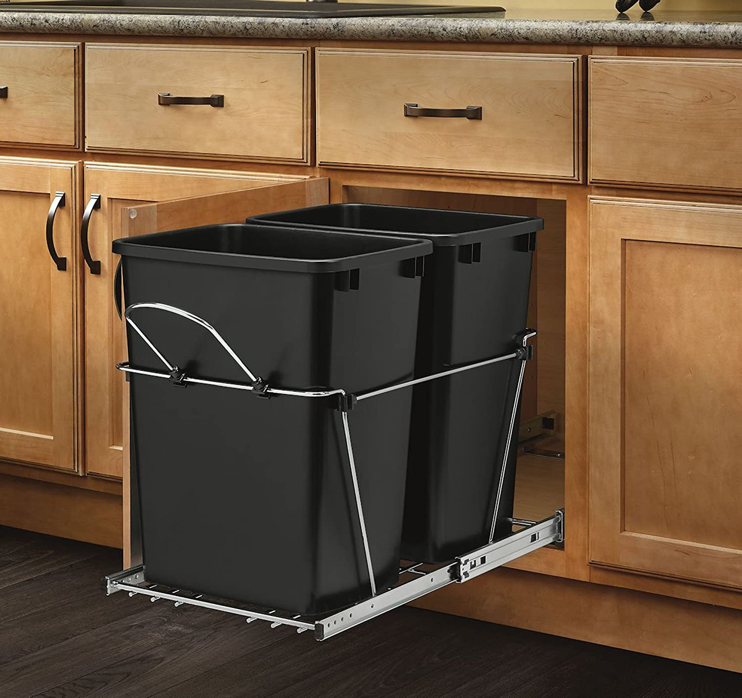 Wooden Kitchen Trash Containers Pull Out Trash Garbage Can Waste Container Kitchen Cabinet