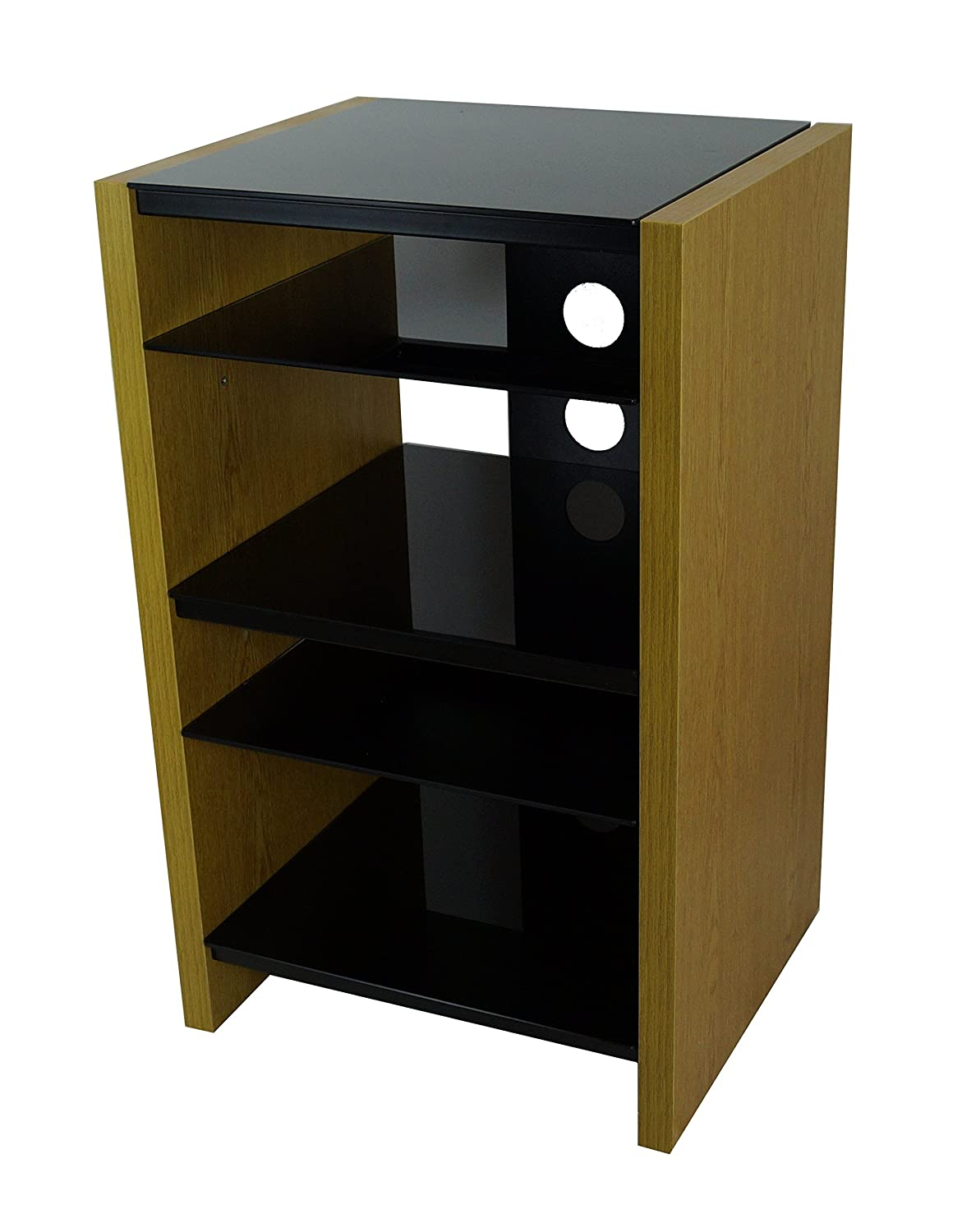 Hifi Rack Oak Medium Oak Black Glass Hi Fi Stand Media Unit 5 Shelf